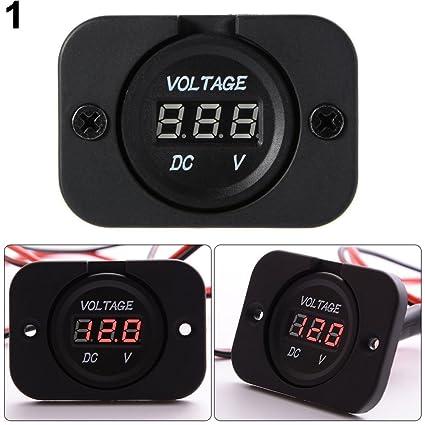 Gyswshh DC 12V-24V Waterproof Car Motorcycle Boat Voltage Meter LED Digital Display Red