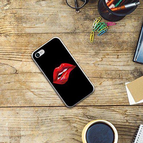 iPhone 8 Hülle, WoowCase Handyhülle Silikon für [ iPhone 8 ] Sexy Lippenbiss Handytasche Handy Cover Case Schutzhülle Flexible TPU - Transparent