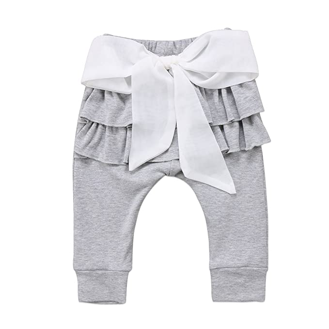 e3f3a12e302 Amazon.com  Imcute Toddler Newborn Baby Girls Loose Ruffle Lace Bowknot  Harem Pants Leggings  Clothing