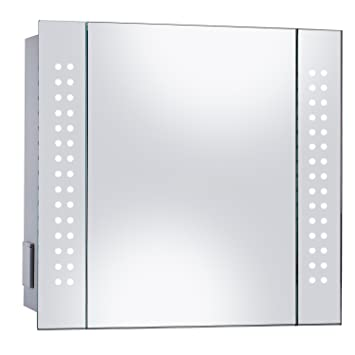 Mirror Cabinet 60 LED Light Illuminated Bathroom With Demister Shaver Socket 600 X 650mm