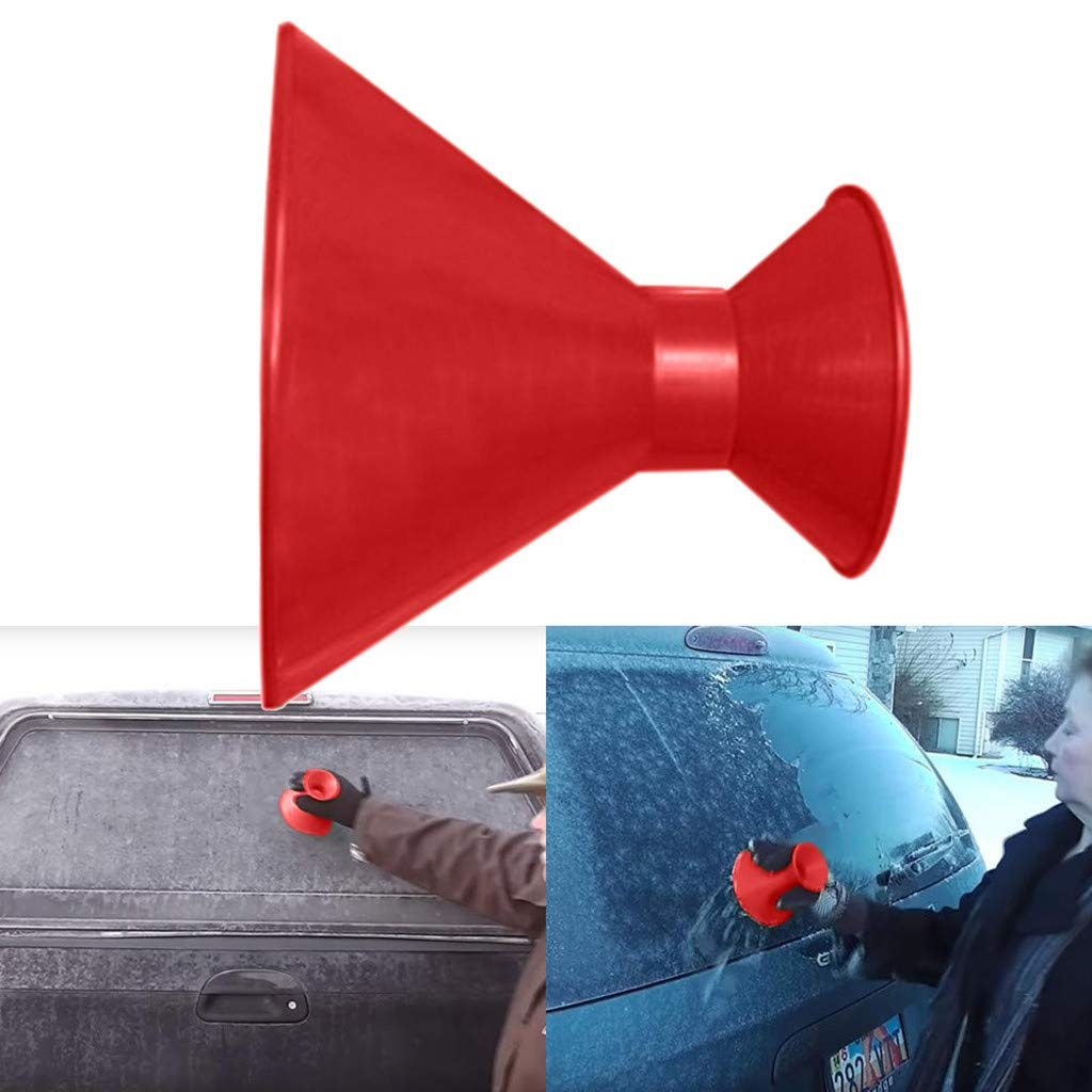 Sameno Scrape A Round Ice Scraper, Snow Scraper for car Windshield Snow Shovel Tool Snow Shovel Brush Scrape,Ice Removal Wiper Round Magic Cone-Shaped Plastic Snow Remover (Red1) by Sameno baby clothing (Image #2)