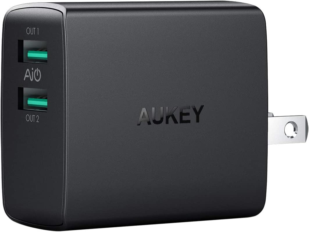 AUKEY USB Wall Charger, Ultra Compact Dual Port 4.8A Output & Foldable Plug, Compatible iPhone Xs/XS Max/XR, iPad Pro/Air 2 / Mini 4, Kindle Fire and More