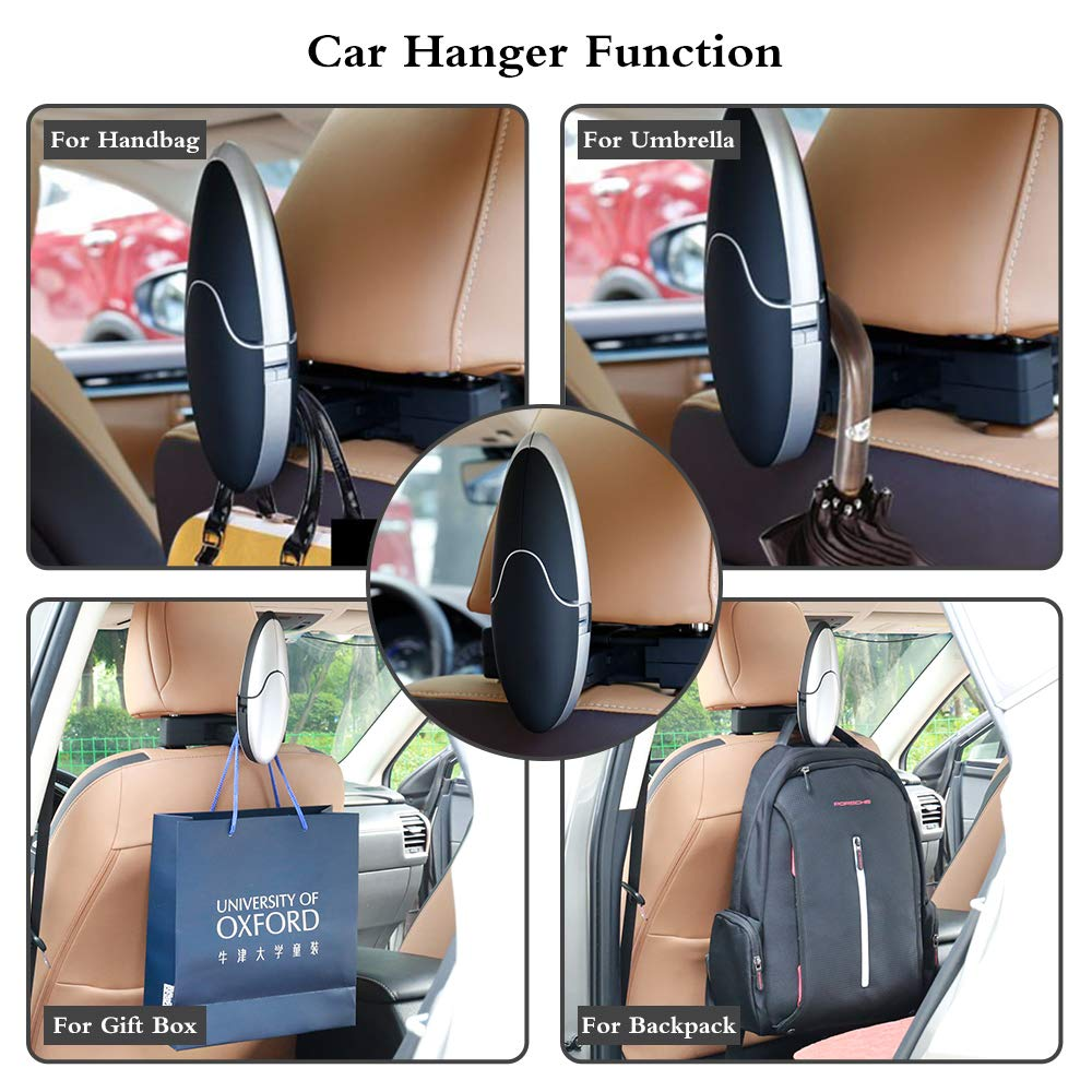 JOYART Universal Car Back Seat Headrest Coat Hanger High-End Multi-Purpose Auto Hook Car Coat Holder for Purse Handbag Shopping Bag Cloth Interior Car Accessories-Black
