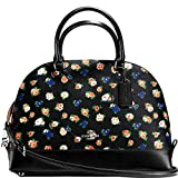 SALE ! New Authentic COACH Black Multicolor Floral Sierra Satchel Convertible shoulder bag
