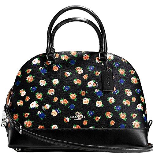 SALE ! New Authentic COACH Black Multicolor Floral Bouquet Sierra Satchel & Convertible shoulder bag