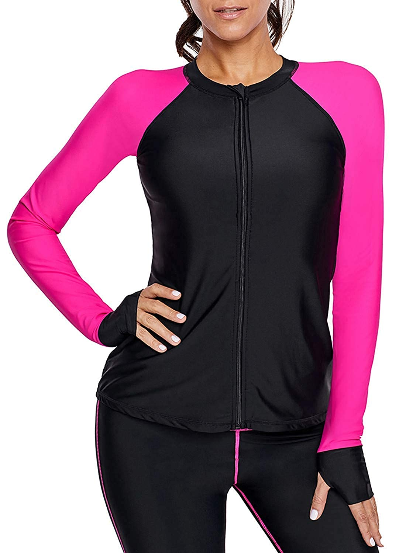 Cutiefox Womens Zip Front Long Sleeve Rashguard Shirt Surfing Swim Tops