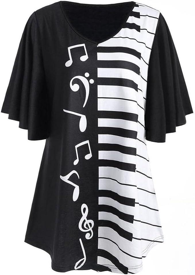 Amlaiworld Donna Taglia Forte Camicetta Note Musicali Stampa Casuale Sciolto a Maniche Corte T-Shirt