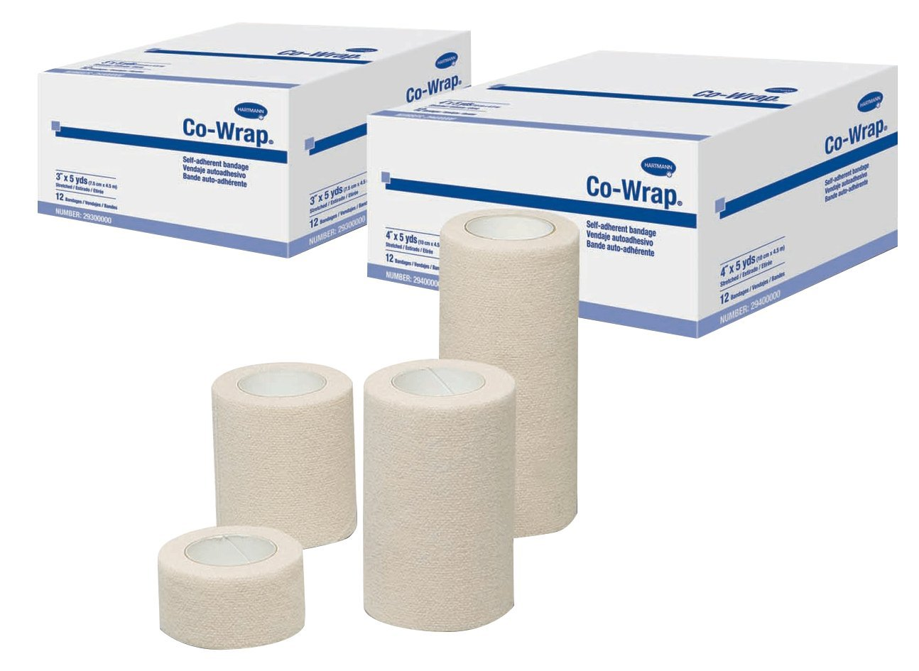 Hartmann 29300000 Co-Wrap Self-Adherent Bandage, 3'' Width, 5 yd. Length (Pack of 12)