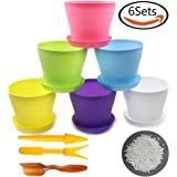 Whonline 6 Colorful Plastic Round Flower Pots with Pallet, 80g 4-7MM White Pavement Stone, 1 Soil Shovel & 1 Set of Transplanting Tools