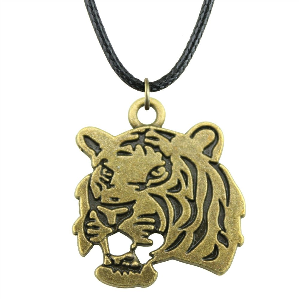 NEWME Tiger Charms Leather Chain Necklace For Thanksgiving Day Handmade Jewelry Kraftpaper Box Gifts