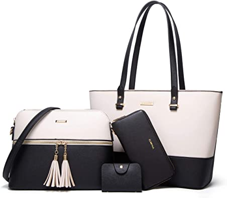 Women-Tote-Bag-Wallet-Messenger-Purse-6-Bags-in-One-Set-Pu Leather
