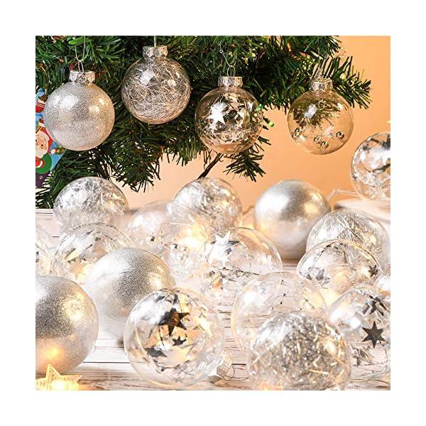 Joyjoz Decorazioni Albero di Natale Palline di Plastica, 6 cm di Diametro Palla di Natale Lucido riempita con Decorazioni Natalizi Raffinati Set 24 Pezzi 2 spesavip