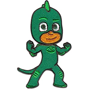 Parches - PJ MASKS Héroes en pijamas GEKKO 1 Disney - verde - 5,0 x 8,0 cm - by catch-the-patch termoadhesivos bordados aplique para ropa: Amazon.es: Hogar