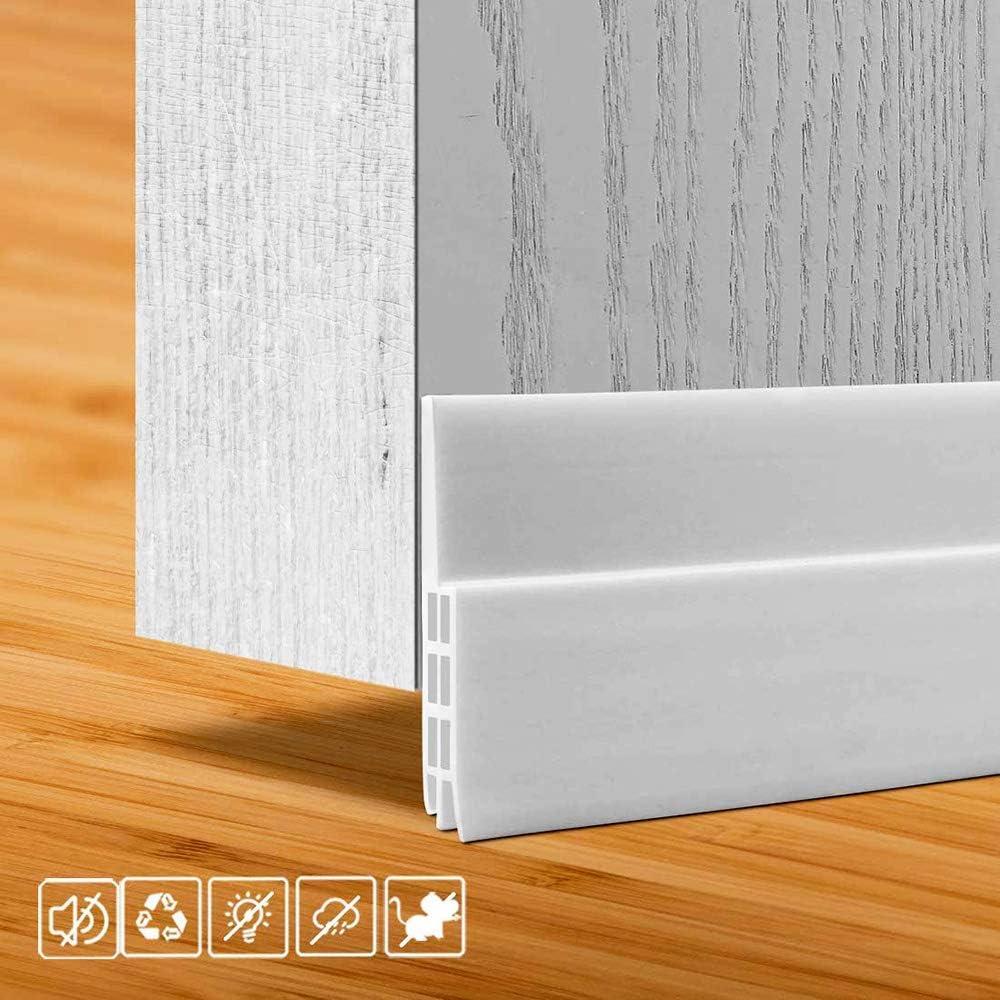 """fowong Under Door Sweep White, 2"""" W x 47"""" L, Door Draft Stopper for Exterior & Interior Doors, Door Bottom Seal Strip Soundproofing Long Door Gap Weather Stripping"""