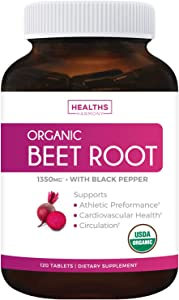 USDA Organic Beet Root Powder (120 Tablets) 1350mg Beets Per Serving with Black Pepper for Extra Absorption - Nitrate Supplement for Circulation, Heart Health, Super Athletic Performance - No Capsules