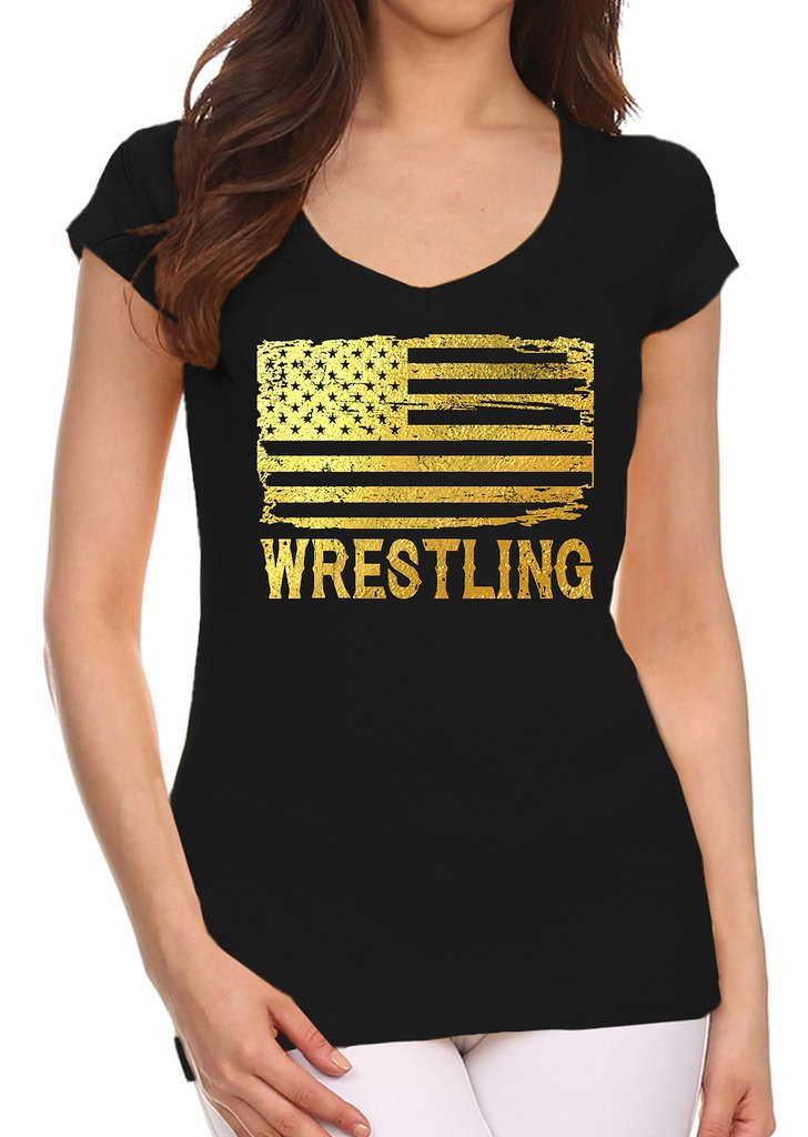 Interstate Apparel Inc Junior's Gold Foil Wrestling American Flag Black V-Neck T-Shirt 2X-Large Black by Interstate Apparel Inc