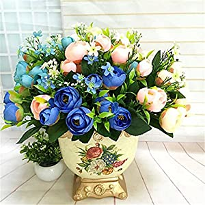 JJH Artificial Flowers For Home Decoration Bright Color Camellias Silk Flower Holiday Decorations 95