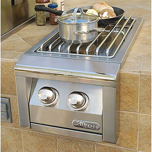 Alfresco Dual Side Burner for Built-in Grill (AXESB-2-NG), Natural Gas, 14-Inch