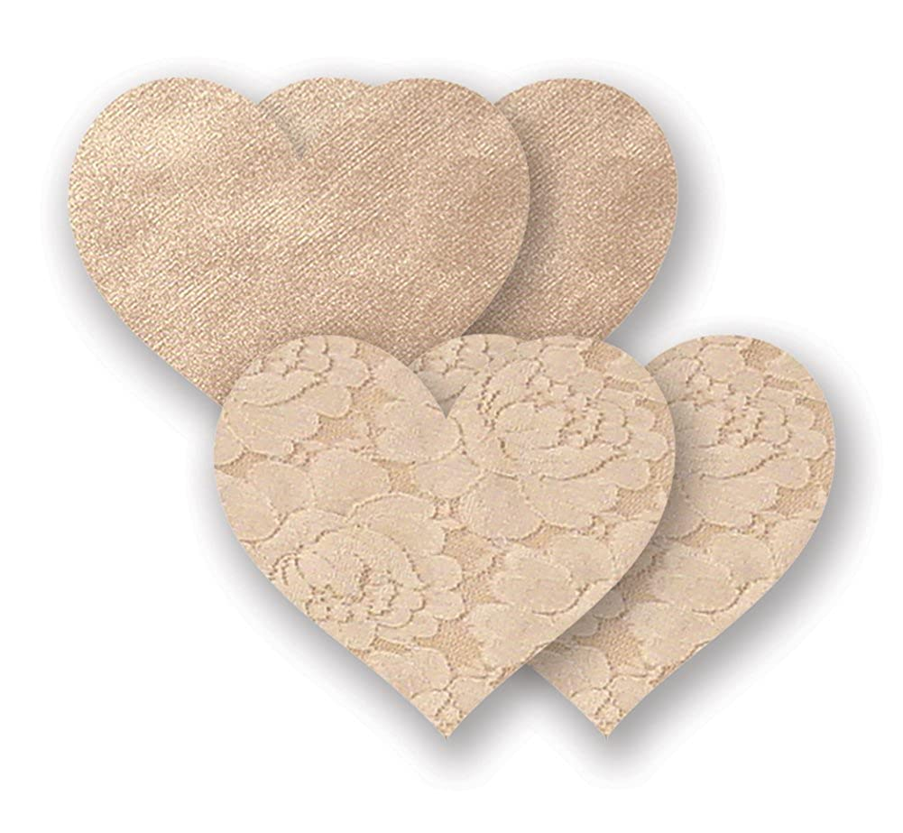 Nippies Creme Heart Waterproof Adhesive Fabric Nipple Cover Pasties Nippies by Bristols Six 0876651000481