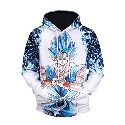 CHAOHAO@ 3D Pullover Autumn New Sweater 3D Dragon Ball Muscle Goku Print Hooded 3D Sweater