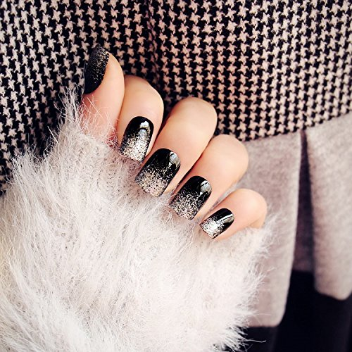 Meili 24Pcs Short Fake Nails Balck Sliver Powder Acrylic Nail Tips With Adhesive Sticker Shimmering Powder Full Artificial Etagere ()