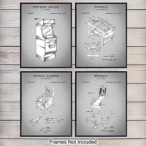 Arcade Patent Art Prints - Vintage Wall Art Poster Set - Chic Rustic Home Decor for Play, Rec, Game Room, Office, Bedroom, Living Room, Man Cave - Gift for Foosball, Pinball, Video Game Fans - 8x10 (10 Best Foosball Videos)
