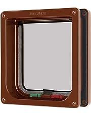 """Cat Mate 4 Way Locking Cat Flap with Door Liner to 50mm (2""""), Brown (235B)"""