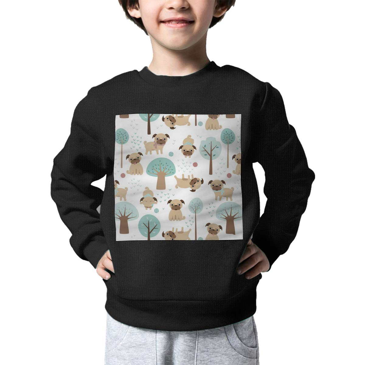 Pugs in The Park Pattern Printed Baby Girls Childrens Crew Neck Sweater Long Sleeve Soft Knitted Jumper Top