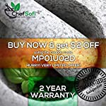 ChefSofi Mortar and Pestle Set - 6 Inch - 2 Cup Capacity - Unpolished Heavy Granite for Enhanced Performance and Organic Appearance - INCLUDED: Anti-Scratch Protector + Italian Recipes EBook 15 A kitchen must-have: Mortar and pestle set (mortero de cocina - morter and pessel - molcajete or guacamole bowl and pestel) has been used for THOUSANDS of years as THE way to crush, grind and powder herbs and dry spices. Contrary to an electric grinder or crusher, the age-old, durable, traditional manual grinding method ensures that all cooking ingredients bring out their full flavor and aroma profiles, allowing you to further control their texture and make delicious, chunk-free dishes. Versatile tool: Take advantage of your brand new stone motar and pedestal set's various applications in the kitchen and simplify your everyday life! Use your mortor to pulverize nuts, seeds, ginger root and garlic and make homemade salad dressing, sauces and condiments, such as fresh mustard, quacamole, pesto, salsa, chutneys and more. Widely used in pharmacies and apothecaries, your molcajete set will help you powder pills, for optimal ingestion, or hide them in your stubborn pet's kibble! Effortless use: This ChefSofi stone mocajetes motor & pedestal set was designed with your convenience in mind. Made from unpolished granite, you will waste no time fumbling or stabilizing your pestal masher, as our motar's cup interior provides the best, metate-like natural friction for swift ingredient crushing, grinding or powdering. With a 500 ml (approx. 2 Cup) capacity, this stone mortor also reduces the need for ingredient refills, affording quick food prep, in one go!