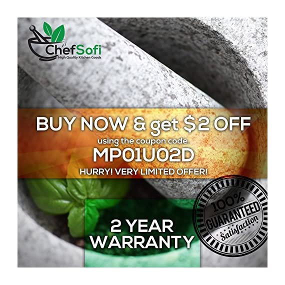 ChefSofi Mortar and Pestle Set - 6 Inch - 2 Cup Capacity - Unpolished Heavy Granite for Enhanced Performance and Organic Appearance - INCLUDED: Anti-Scratch Protector + Italian Recipes EBook 6 A kitchen must-have: Mortar and pestle set (mortero de cocina - morter and pessel - molcajete or guacamole bowl and pestel) has been used for THOUSANDS of years as THE way to crush, grind and powder herbs and dry spices. Contrary to an electric grinder or crusher, the age-old, durable, traditional manual grinding method ensures that all cooking ingredients bring out their full flavor and aroma profiles, allowing you to further control their texture and make delicious, chunk-free dishes. Versatile tool: Take advantage of your brand new stone motar and pedestal set's various applications in the kitchen and simplify your everyday life! Use your mortor to pulverize nuts, seeds, ginger root and garlic and make homemade salad dressing, sauces and condiments, such as fresh mustard, quacamole, pesto, salsa, chutneys and more. Widely used in pharmacies and apothecaries, your molcajete set will help you powder pills, for optimal ingestion, or hide them in your stubborn pet's kibble! Effortless use: This ChefSofi stone mocajetes motor & pedestal set was designed with your convenience in mind. Made from unpolished granite, you will waste no time fumbling or stabilizing your pestal masher, as our motar's cup interior provides the best, metate-like natural friction for swift ingredient crushing, grinding or powdering. With a 500 ml (approx. 2 Cup) capacity, this stone mortor also reduces the need for ingredient refills, affording quick food prep, in one go!