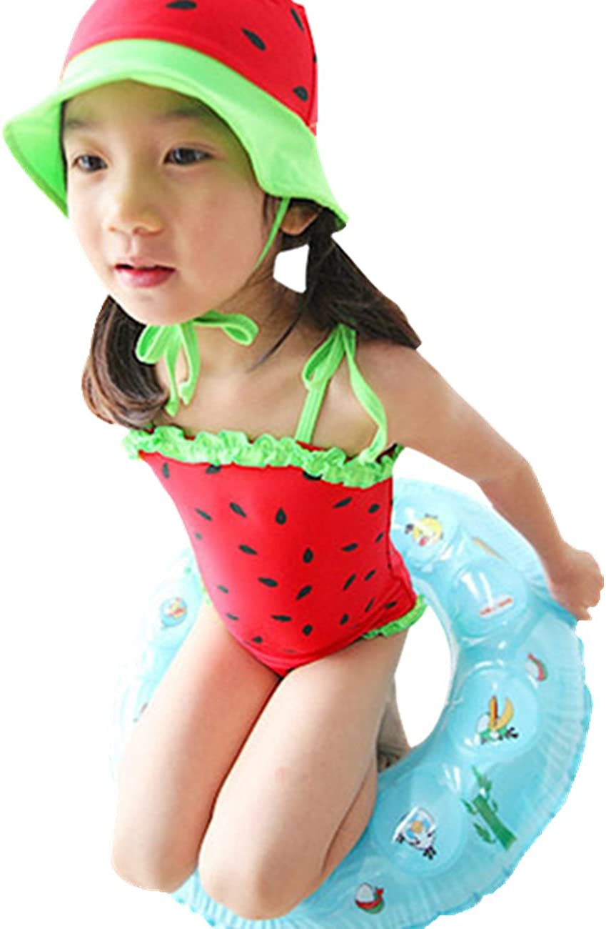 TangB Little Girls One-Piece Swimsuit Sets with Hat