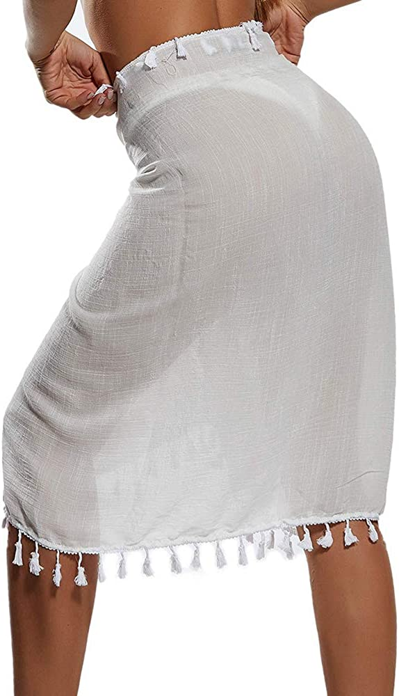 Manooby Bikini Cover Ups de Playa para Mujer Ba/ñador de Gasa Pareo Bufanda Semi Transparente Traje Falda Corta con Borlas