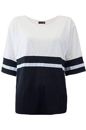 8fbb02609a Be Jealous Womens Ladies Baggy Contrast Stripes Short Sleeve Oversized  Round Neck Long Top UK Plus Size 8-26  Amazon.co.uk  Clothing