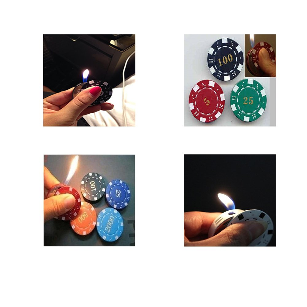 Poker Chip Butane Lighter - One Item - Color and Design Maybe Vary