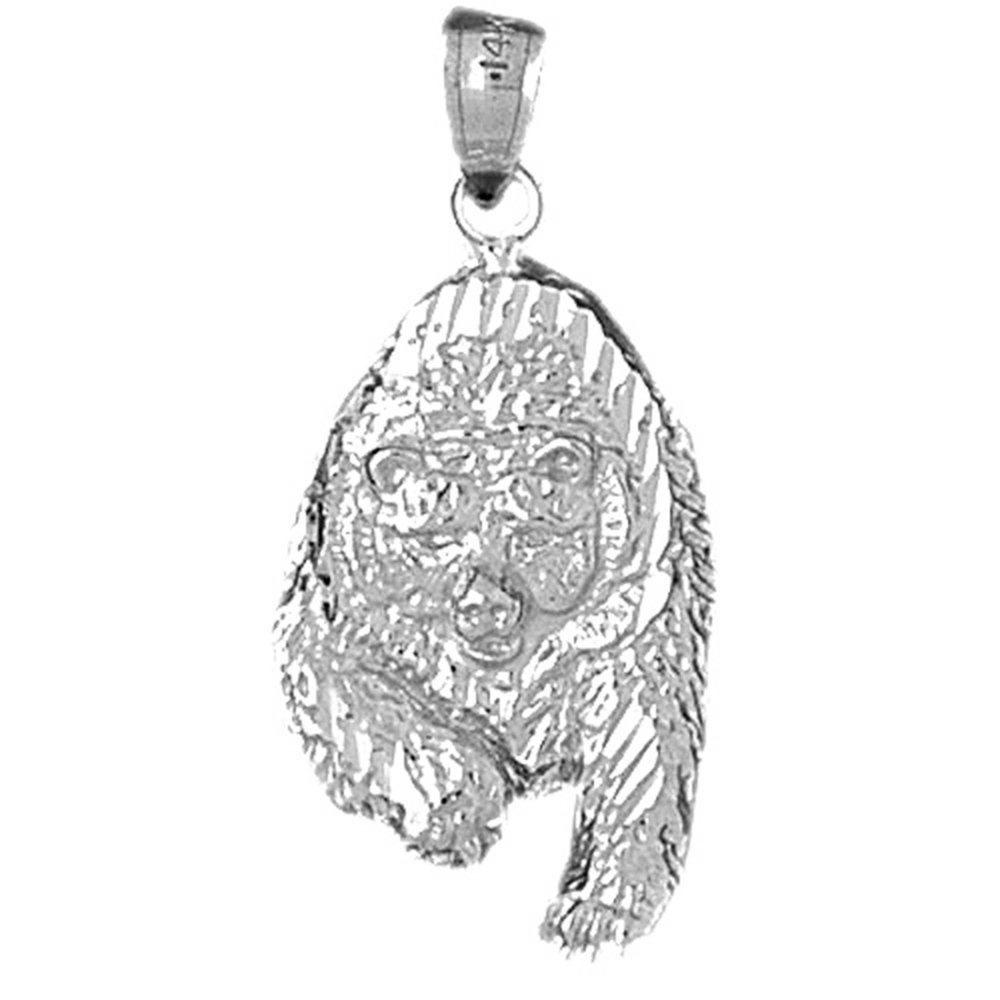 Sterling Silver 925 Grizzley Bear Pendant Jewels Obsession Grizzley Bear Pendant 33 mm