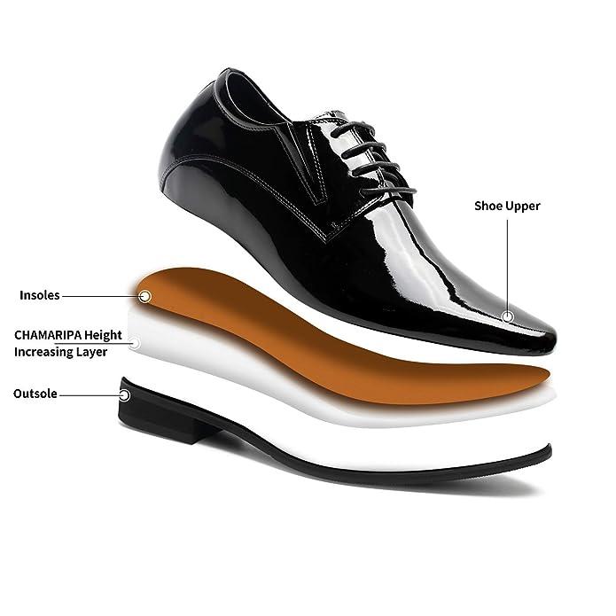CHAMARIPA Elevator Shoes Back to School Herren Schwarz Leder Oxford Schuhe Geschäft Herren Anzugschuhe Niedrige Absätze, 8CM 3.15Inches
