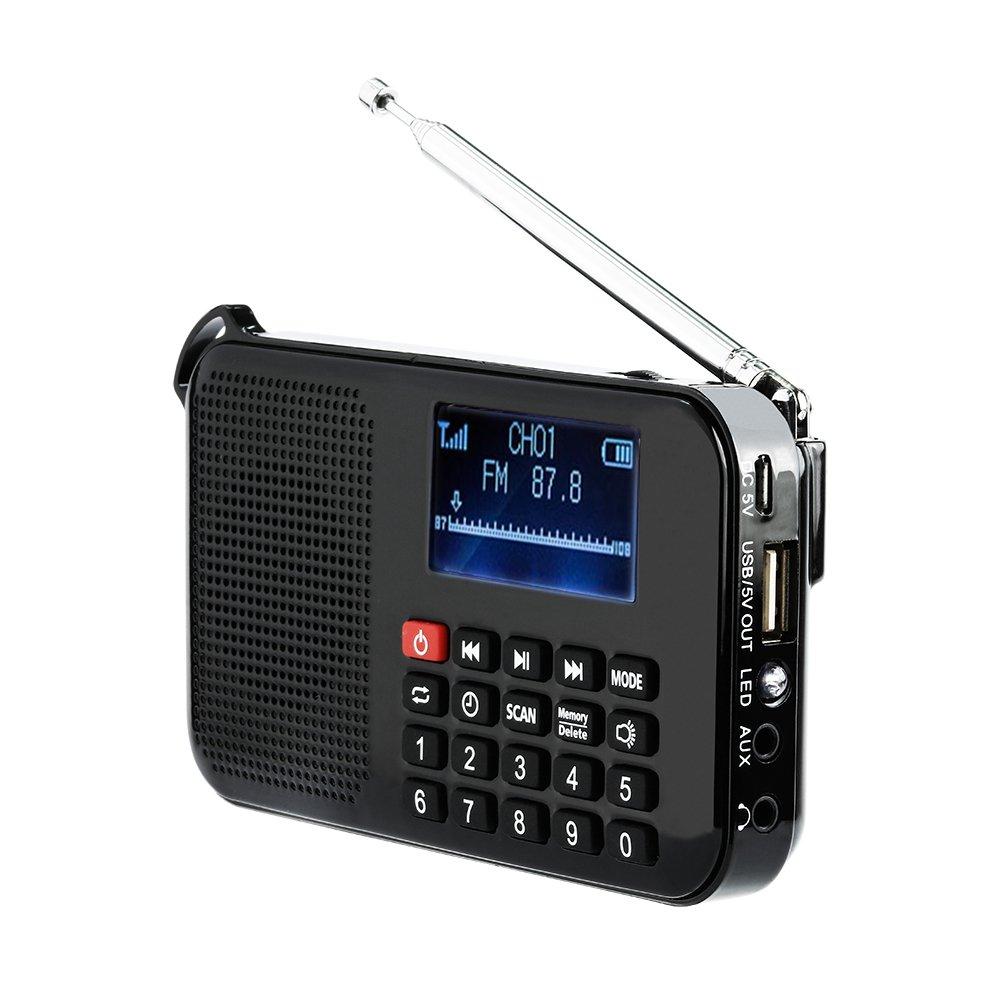 LCJ Portable Digital Solar and Battery Powered Emergency FM Radio Receiver with LED Flashlight