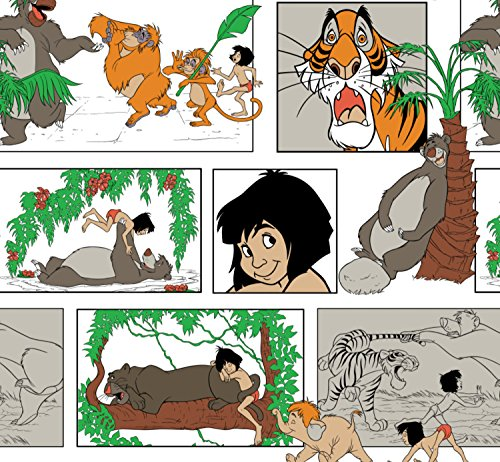Flannel Disney Jungle Book Mowgli Baloo Bagheera Shere Khan Kaa Fabric from Camelot by The Yard ()