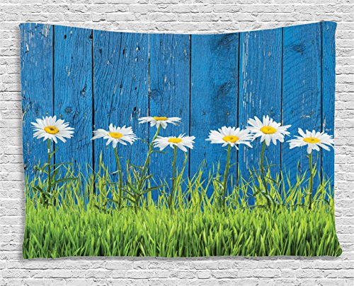 - Ambesonne Flower Tapestry, Fresh Springtime Grass and Daisy on Fence Summer Simple Vintage Style Print, Wide Wall Hanging for Bedroom Living Room Dorm, 80