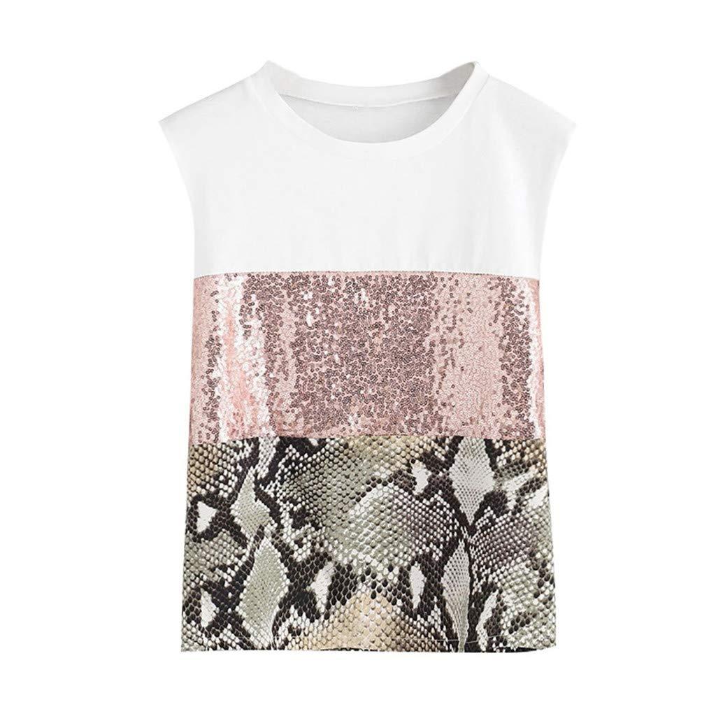 0ab38b5c5d GNYD Damen Oberteile Summer Pacthwork Leopardenmuster Pailletten Ärmelloses  T-Shirt Lässige Bluse Top Pink ukn5P4cX