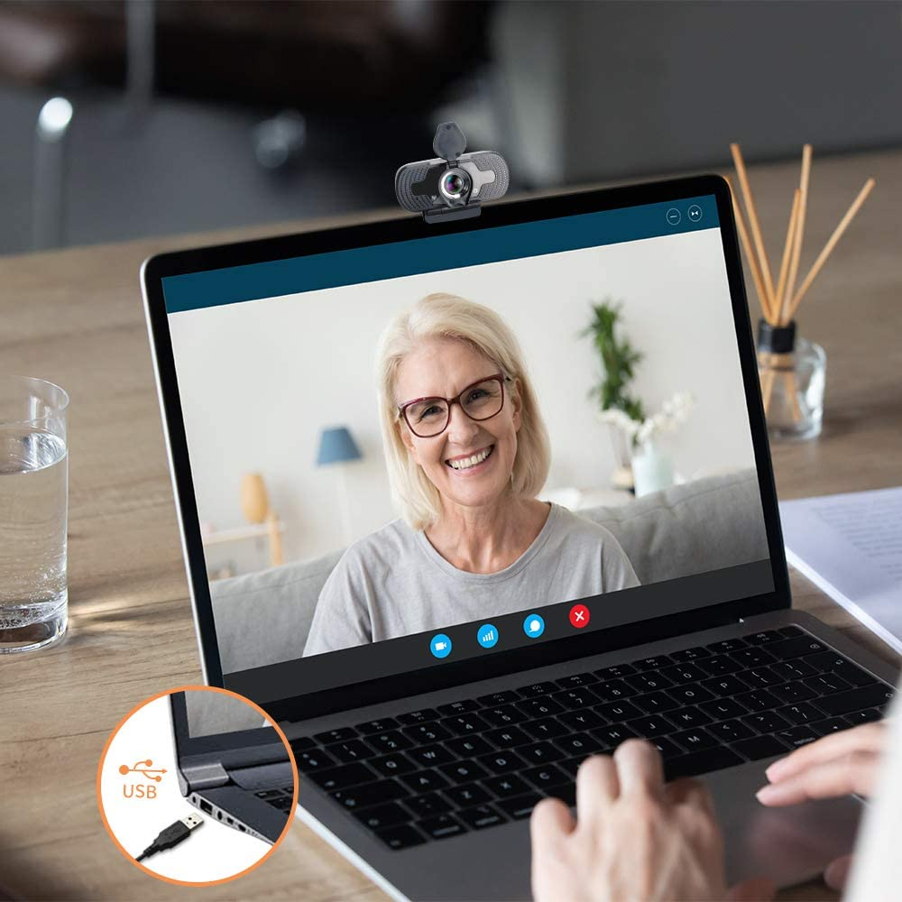 Webcam,Webcam with Microphone USB PC Webcam for Video Calling Recording Conferencing 1080P HD 110-Degree View Angle Webcam with Privacy Cover