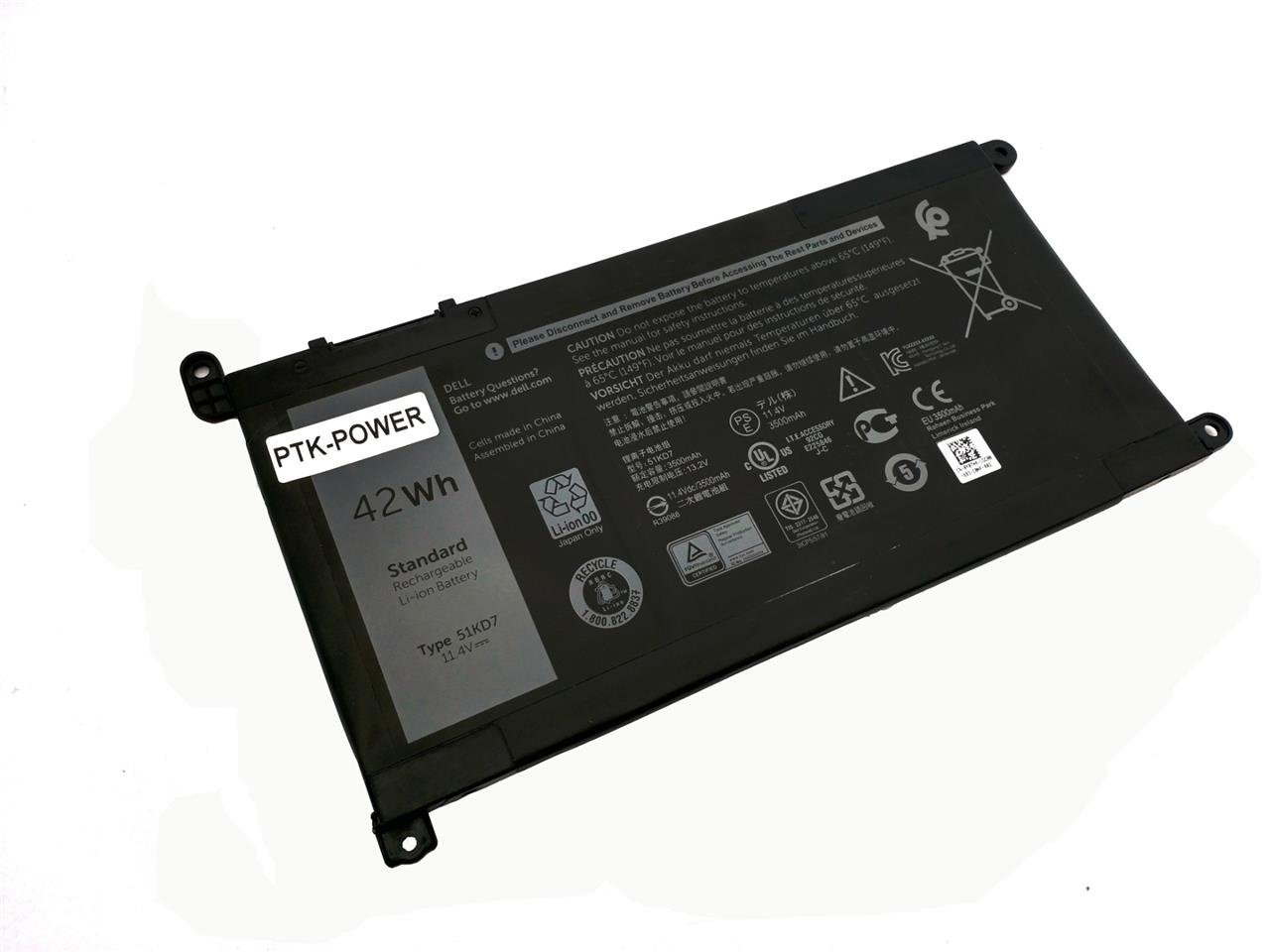 PTK-POWER 11.4V 42Wh 0Y07HK 51KD7 Notebook Battery For DELL Chromebook 11 3180 3189 Laptop batteries