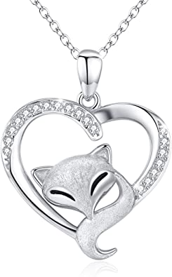 Cute Animal Necklace S925 Sterling Silver Animal Jewelry Forever Love Heart Pendant Necklace Gifts for Women Mom Birthday Mother's Day
