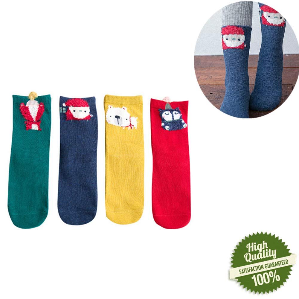 Morbuy 4 Paires Chaussette Bébé Fille Garçon, Noël Chaude Hiver Imprimé Motif Fantaisie Socquettes Coton Socks Respirant Doux Hiver Nouveauté Fête Femme Chaussettes