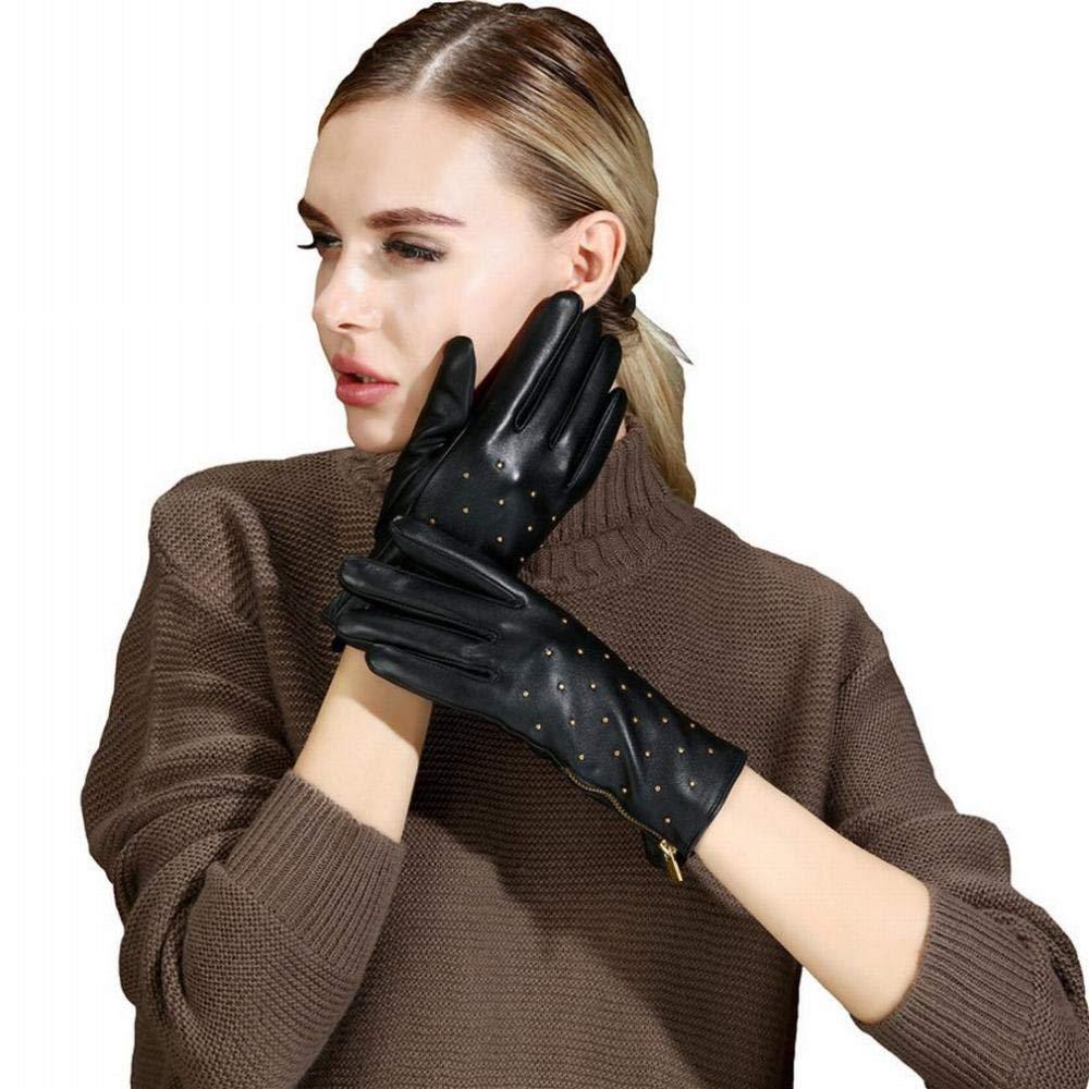 CN Frauen Lederhandschuhe Winter Plus Samt Warme Mode Nieten Punk Schaffell Handschuhe,Schwarz,S