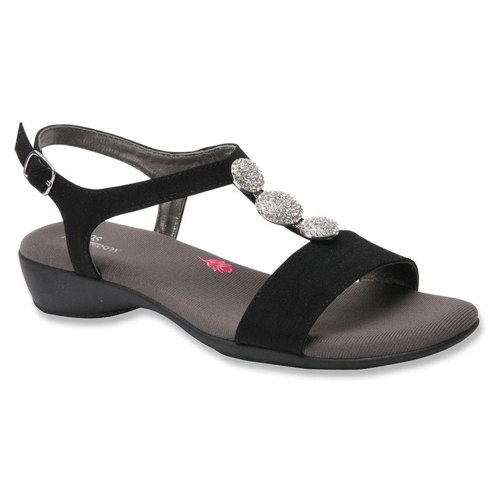 Ros Hommerson Women's Mariel Leather Sandals B00VZUGTC2 5.5 B(M) US|Black Microtouch