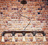 Rustic Water Pipe Ceiling Light, Industrial Pendant Light With Vintage Design, Create The Perfect Atmosphere For Bar Restaurant Coffee Shop And Home Use With Our 5 Light Retro Chandelier, E27 socke