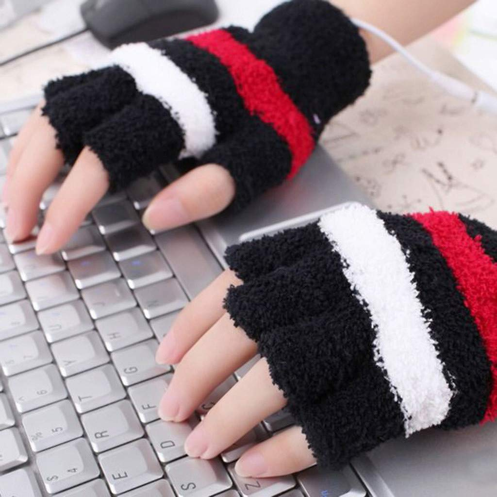 Glumes Men Women Kids Electric Heated Fingerless Gloves USB Heat Thermal Mitten, Sports Indoor Winter Novelty Warm Heating Gloves, Working Pinting Typing Heater Warmer -Best Xmas Gift (Black)