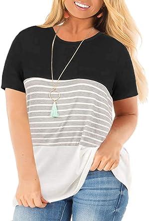 VISLILY Women's Plus Size T-Shirt Short Sleeve Striped Tunics Top XL-4XL