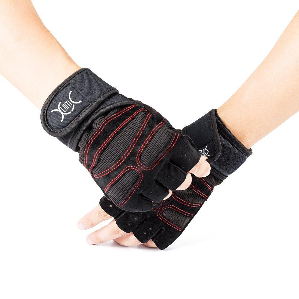 YXwin Guantes deportivos Gimnasio Guantes medio dedo respirable del levantamiento de pesas con mancuernas fitness Gimnasio Hombres Mujeres Tamaño de los guantes